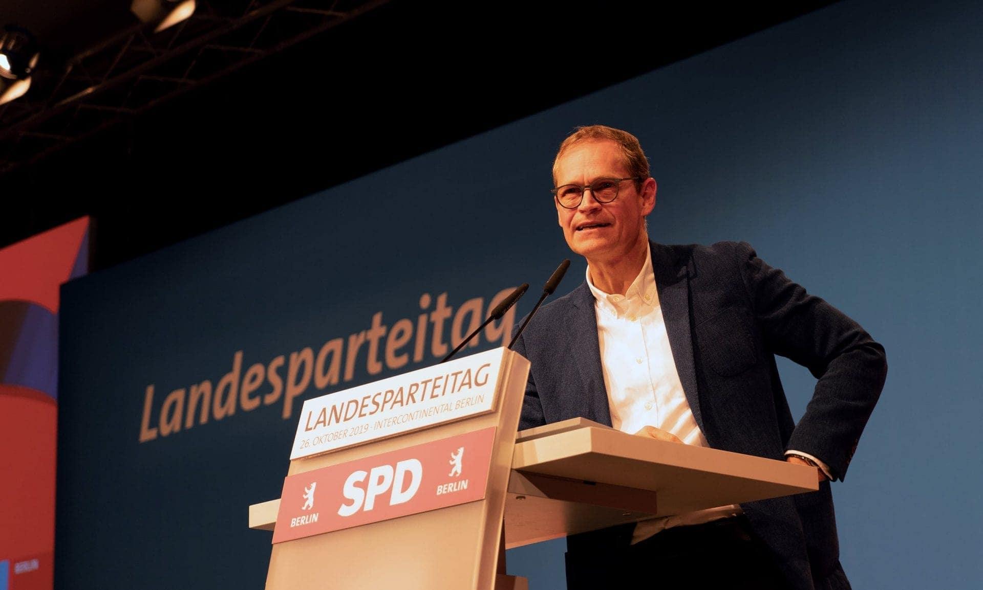 Michael Müller spricht auf dem Landesparteitag