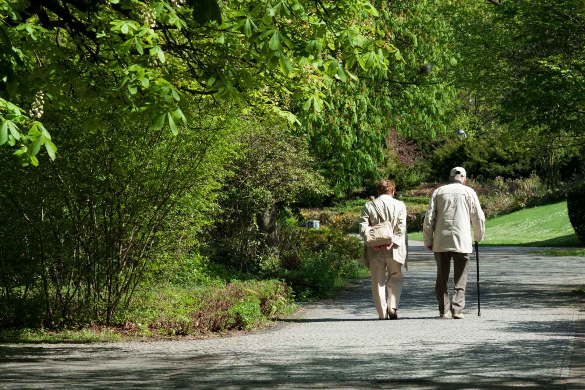 Älteres Paar geht im Park spazieren