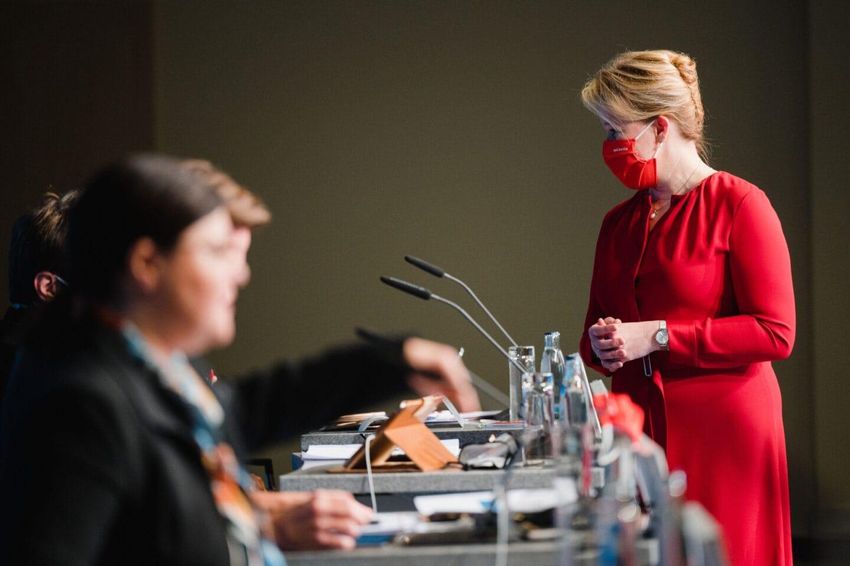 Franziska Giffey beim hybriden Landesparteitag der SPD Berlin