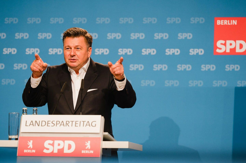 Andreas Geisel beim hybriden Landesparteitag der SPD Berlin
