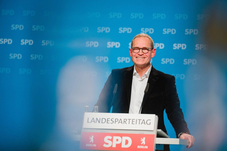 Michael Müller beim hybriden Landesparteitag der SPD Berlin