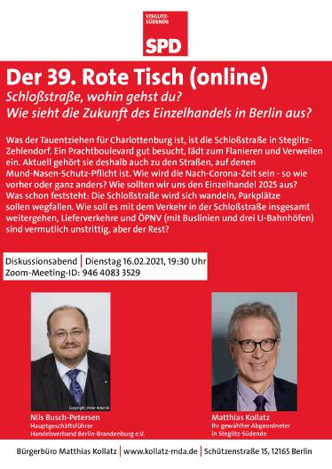Online: Der 39. Rote Tisch mit Matthias Kollatz, MdA: Schloßstraße, wohin gehst du? 1