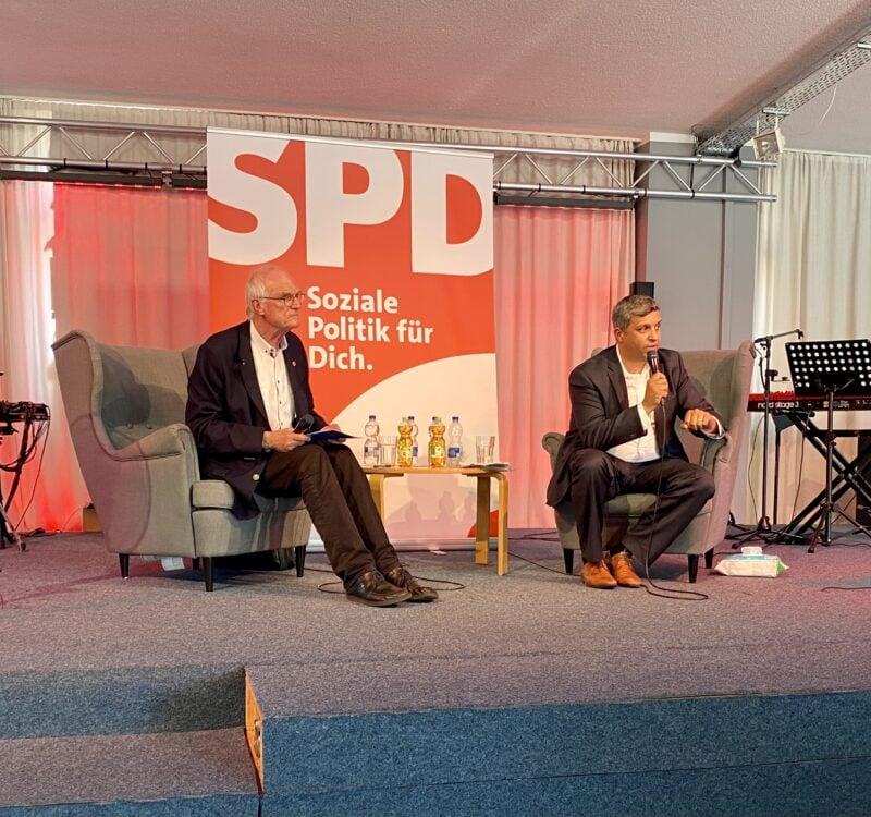 SPD-Bundestagsabgeordneter Lothar Binding (l.) und SPD-Landeschef Raed Saleh
