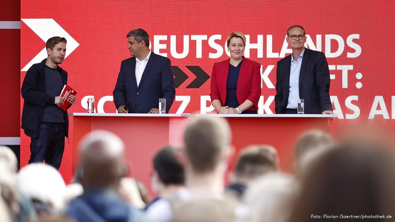 Kevin Kühnert, Raed Saleh, Franziska Giffey und Michael Müller