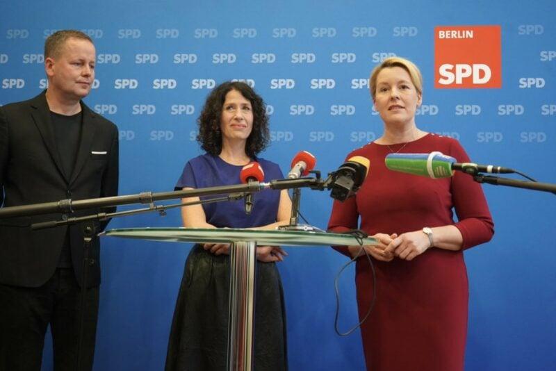 Klaus Lederer (LINKE), Bettina Jarasch (Grüne) und Franziska Giffey