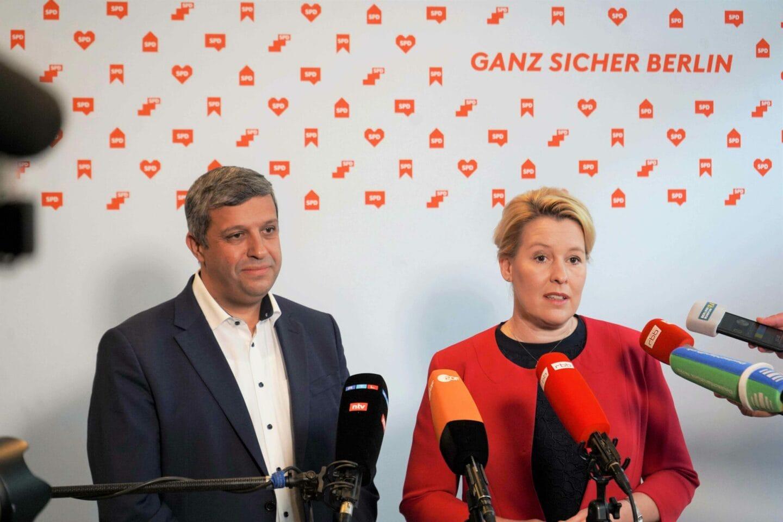 Raed Saleh & Franziska Giffey informieren über das Ergebnis der zweiten Sondierungsrunde.